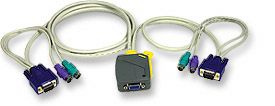2-Port Mini KVM Switch with Integrated Cables - Image A