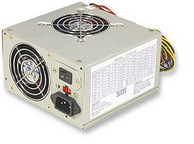 MH Power Supply ATX, 500W, Dual Fan - Image A