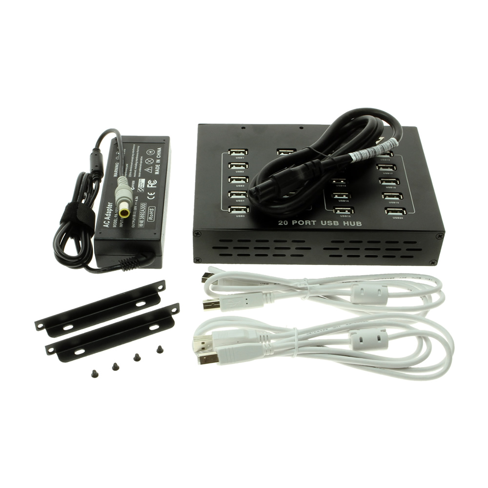 USB 2.0 20-Port Hub with External Power Adapter - Image B