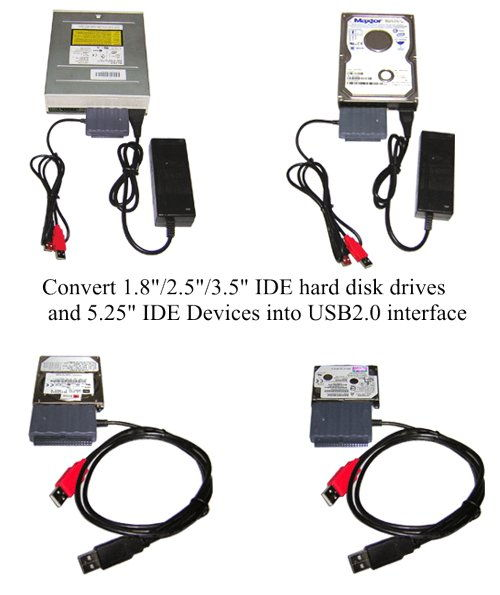 USB 2.0 to IDE Adapter Cable with 2A Power Supply - Image B