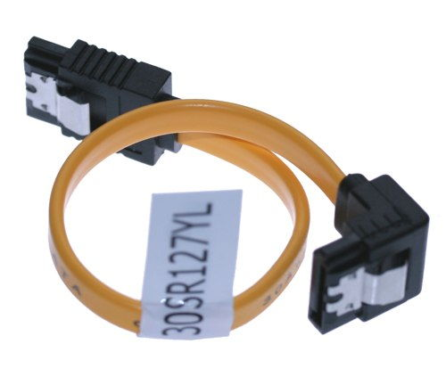 27 Inch SATA II 3Gb/s Latching Cable 30AWG Right to Straight SATA 2 - Image B