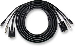 MH 3in1 Cable for Manual KVM 2xMD6M&HD15M-2xMD6M&HD15M,6ft - Image A