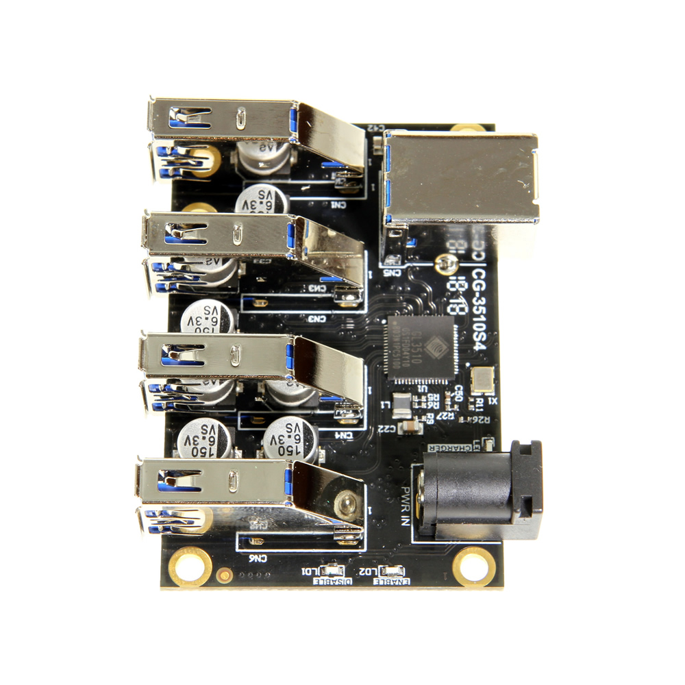 USB 3.1 4 Port Mini Hub Component Board with ESD & Surge Protection - Image A