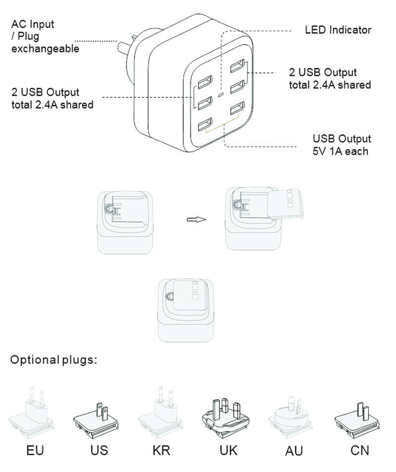 6 Ports USB Charger up to 2.4A Travel Fast Charger  - Image C