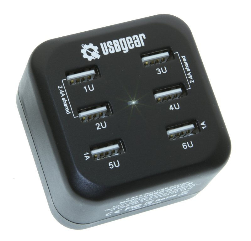 6 Ports USB Charger up to 2.4A Travel Fast Charger  Only $19.99  at USBGear.com