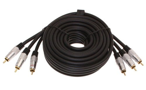 Component Video Cable 6ft. 3 RCA to 3 RCA Hi-Quality Gold Plated and Shielded Cables - Image A