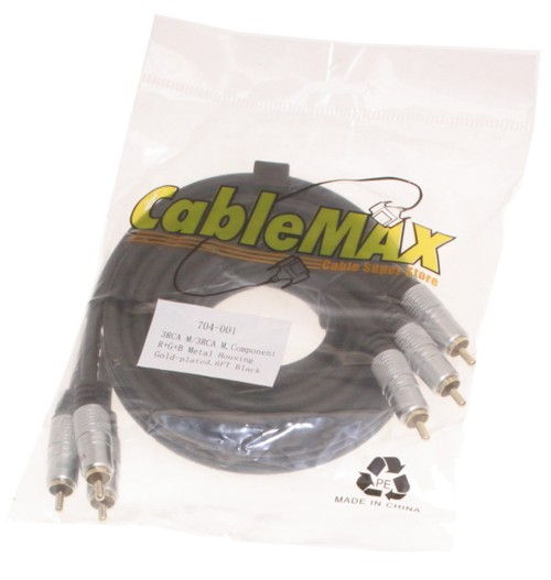 Component Video Cable 6ft. 3 RCA to 3 RCA Hi-Quality Gold Plated and Shielded Cables - Image C
