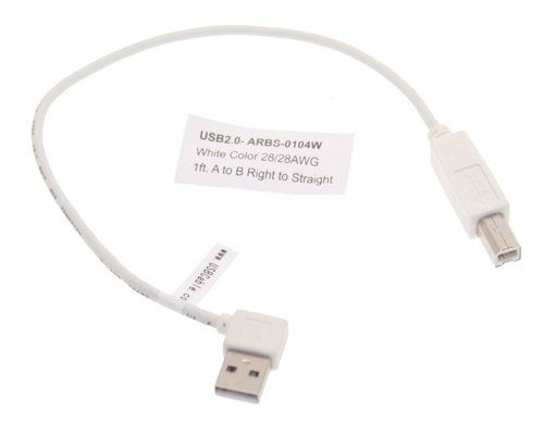 1ft. Right to Straight A to B 28/28AWG White Cable USB 2.0 RoHS - Image B