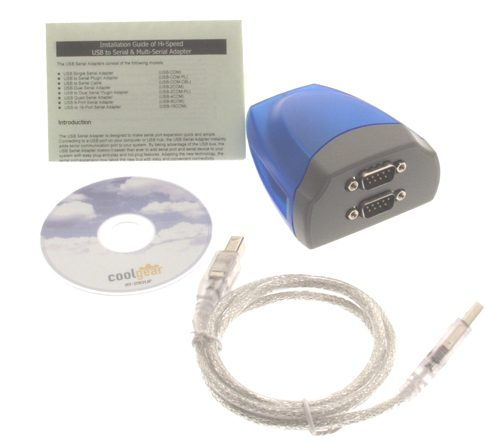 Dual Port USB to Serial RS-232 DB-9 Adapter Cable FTDI Chip - Image A