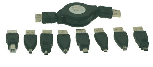 9-Piece USB MINI B Adapters Kit with Vinyl Case - Image A