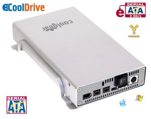 3.5-inch SATA to USB2.0 & FireWire800 & eSATA HDD Enclosure wih FAN - Image A