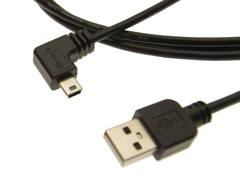 6ft. USB 2.0 High-Speed A to Mini B Angled Black Cable E345548 - Image B