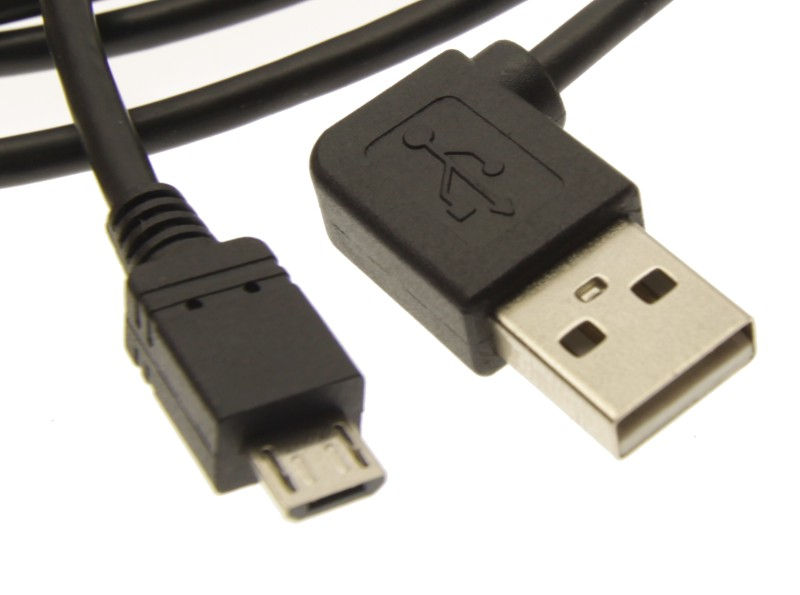 6ft. USB 2.0 High-Speed Angled A to Micro B  Black Cable E345548 - Image A