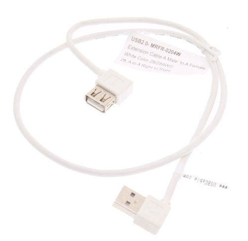 2ft. USB 2.0 Extension Cable A male to A Female Right Angle to Right Angle - Image A