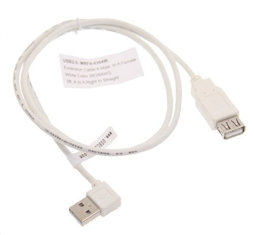 3ft. USB 2.0 Extension Cable A male Right Angle to A Female  - Image A