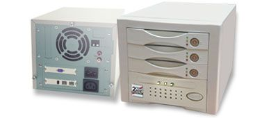 3x IDE Drive FireWire800 (IEEE 1394b) to ATA devices bay with RAID 5 controller  - Image A