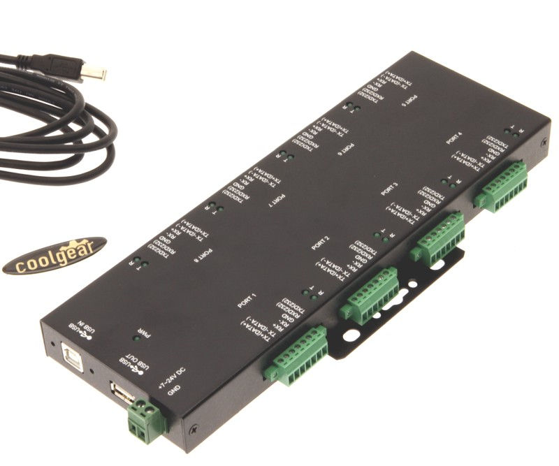 8-Port Terminal Block RS232/422/485 to USB Isolation/Surge Protection