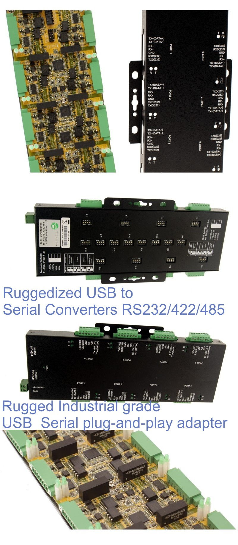 Rugged Industrial 8-Port Terminal Block RS232/422/485 to USB Adapter  - Image B