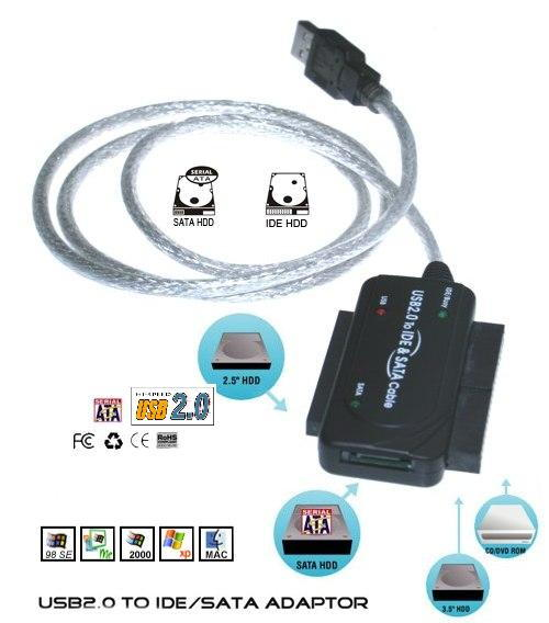 USB 2.0 to IDE and SATA Adapter Cable with 2A Power Supply - Image B