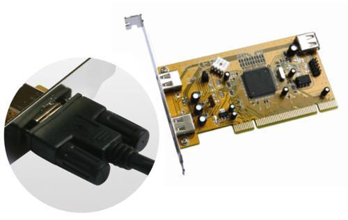 Industrial 2+1 Port USB 2.0 PCI  Host Adapter w/ Screw Lock - Image A