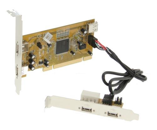 Industrial 2+1 Port USB 2.0 PCI  Host Adapter w/ Screw Lock - Image C
