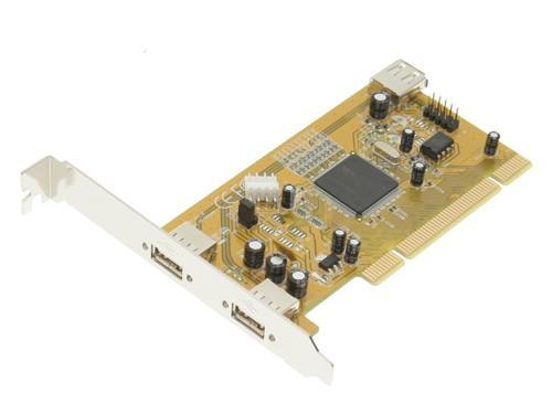 Industrial 2+1 Port USB 2.0 PCI  Host Adapter w/ Screw Lock - Image B
