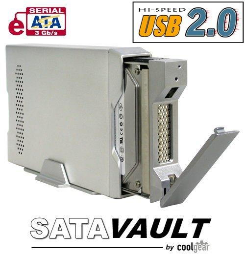 Native SATA drive Enclosure with USB 2.0 and eSATA Output, Aluminum Removable Tray Only $69.98  at USBGear.com