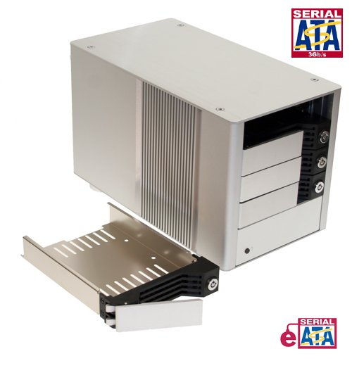 Ultra Fast Quad Drive SATA II to eSATA HDD Enclosure Removable Rack - Image A