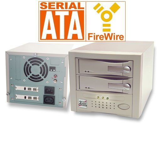 Firewire 800 Dual Removable Tray System for SATA and IDE Drives - Image A