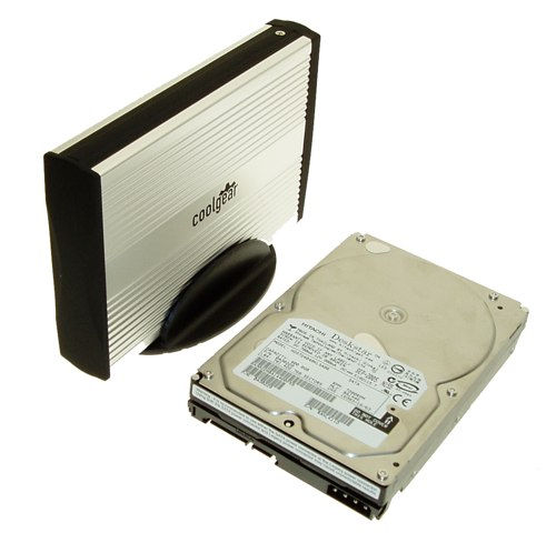Black/Silver SATA drive Enclosure with USB 2.0 Output, Cool Look ALUMINUM - Image A