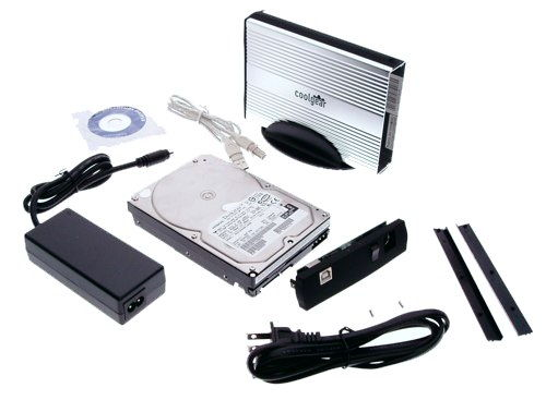 Black/Silver SATA drive Enclosure with USB 2.0 Output, Cool Look ALUMINUM - Image B