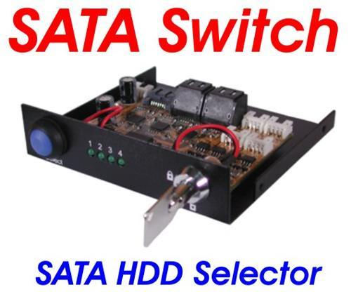 4 Port SATA III Switch 3.5inch Bay Mount Design With KeyLock and LED - Image A
