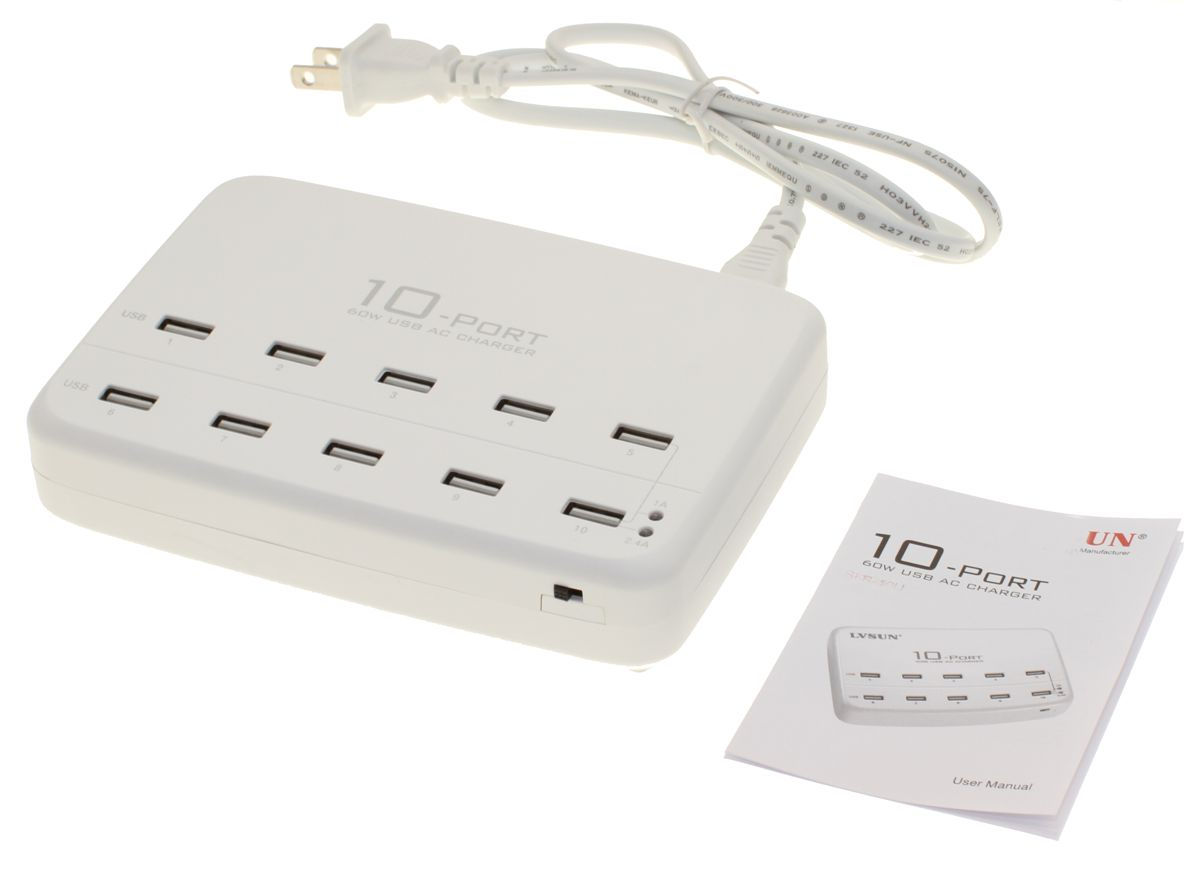 10 Ports Universal USB AC Charger Hub with internal Adapter 60W 5x2.1A Max -  Only $39.99  at USBGear.com