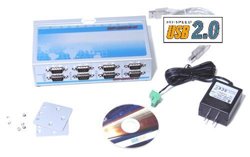 USB-8COMi-M USB to 8X DB-9 Port RS-422/485 Metal case with DIN-Rail - Image B