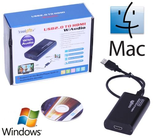 USB to HDMI Converter Single Cable USB to TV/LCD/Plasma Solution for MAC/XP/Vista and Windows 7 Only $89.98  at USBGear.com