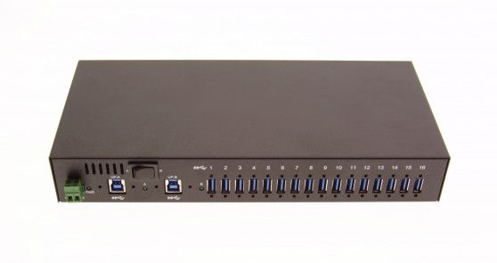 Industrial 16-Port USB 3.0 Din-Rail/WallMount/Rackmount Hub with up to 1.5A per port - Image A