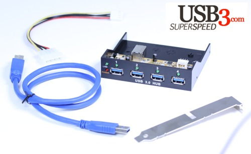 Internal Bay USB 3.0 4-Port VIA USB 3.0 SuperSpeed Chip Hub with LED - Image B