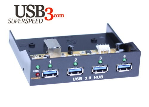 Internal Bay USB 3.0 4-Port VIA USB 3.0 SuperSpeed Chip Hub with LED - Image A