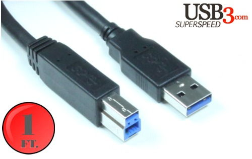 1ft. A to B USB 3.0 Super High Speed Device Cable Black Only $5.99  at USBGear.com