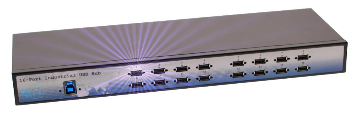 Industrial 16-Port USB 3.0 Rack Mount Hub with 280 Watt power built in - Image A