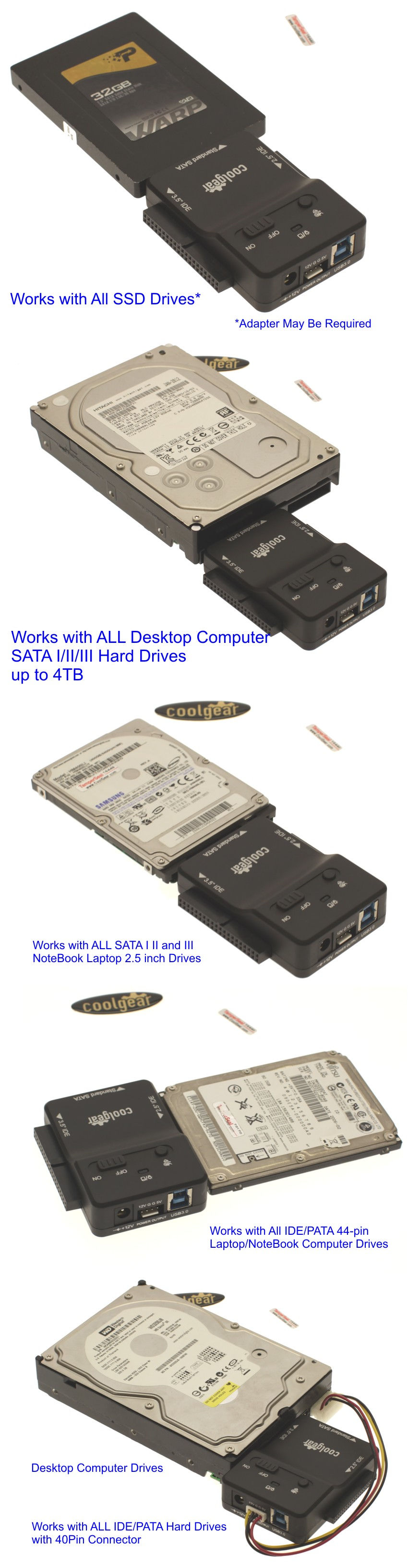 USB 3.0 to PATA/ IDE and SATA Hard Drive Adapter Universal 2.5/3.5 inch Drives Including all Laptop and SSD drives - Image B