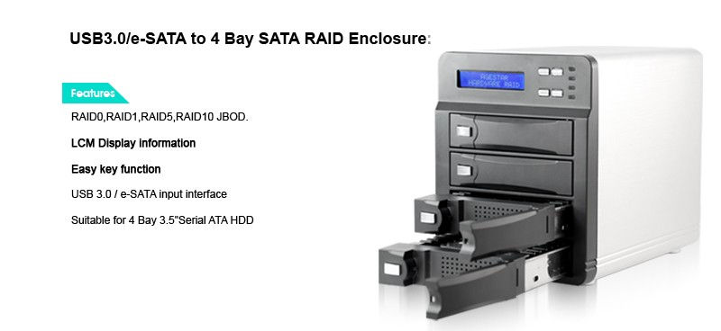 USB 3.0/ eSATA Hard Drive RAID Enclosure Quad Drive Removable Bay - Image C