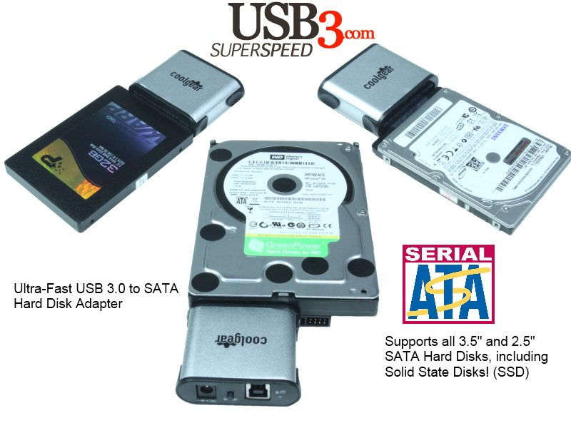 USB 3.0 to SATA Hard Drive Adapter for 2.5/3.5/SSD Drives - Image B