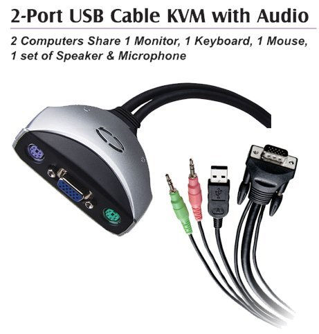 USBGEAR KVM Switch 2 port, USB+Video with Audio - Image A
