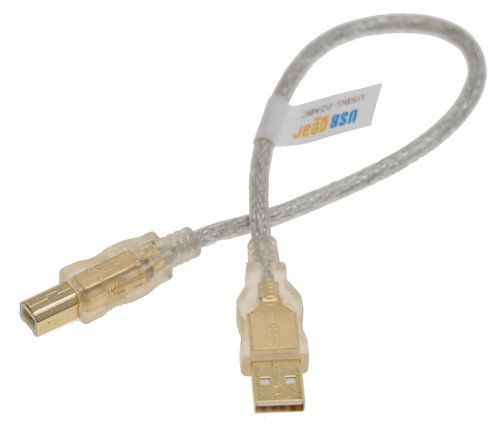 Clear USB Cable A to B, 12 inch High-Speed USB 2.0 Gold Plated Only $2.75  at USBGear.com