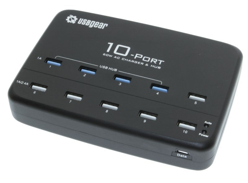 10 Ports Universal USB AC Charger with 4-port USB Hub and internal Adapter 60W 5x2.4A Max - Image A