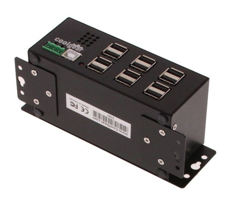Industrial 12-Port USB 2.0 Powered Hub for PC-MAC  DIN-RAIL Mount - Image A