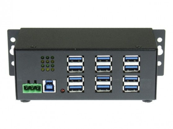 Industrial 12-Port USB 3.0 Powered Hub for PC-MAC  DIN-RAIL Mount - Image A