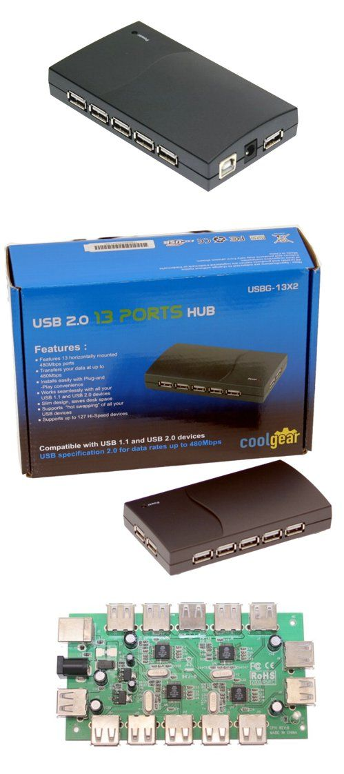 13-Port USB 2.0 Powered Slim Hub for PC or MAC with AC Adapter - Image C