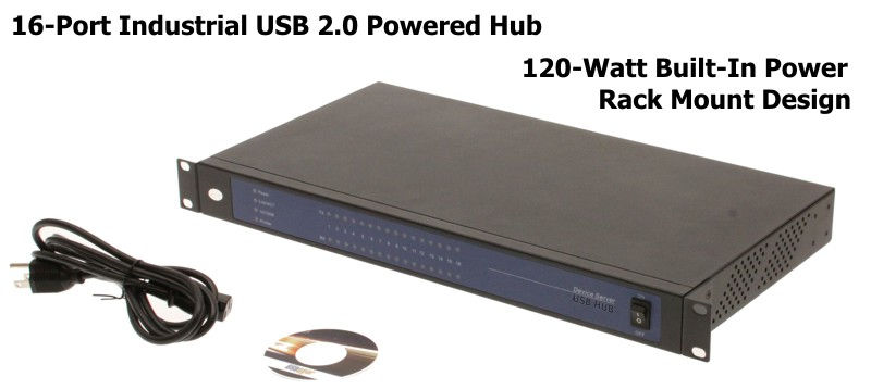 Industrial 16-Port USB 2.0 Rack Mount Hub with Built-in Power Supply 1.5A Charging per port - Image A